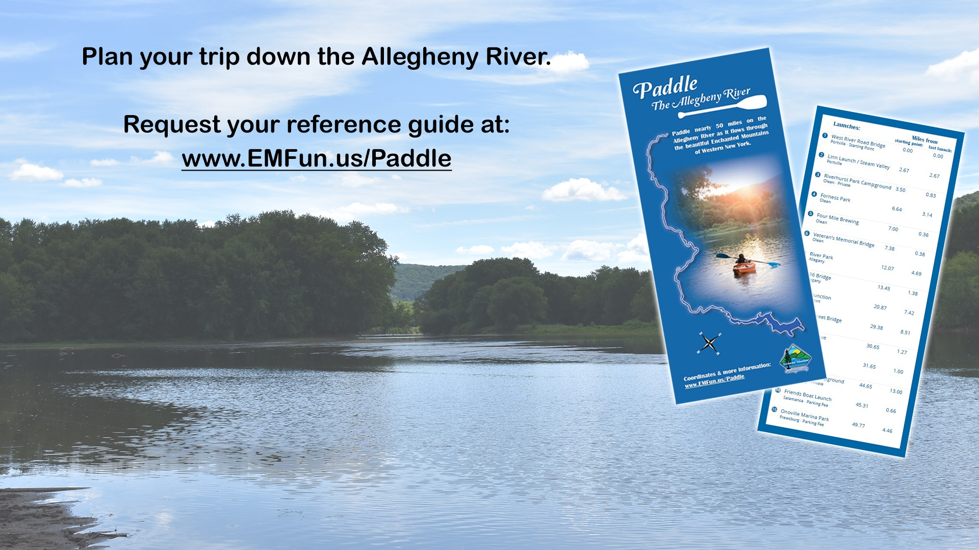 Request Paddle The Allegheny River Rack Card